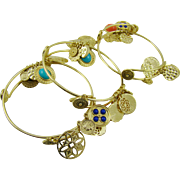 SALE Three Gypsy Bracelets with Glass Cabochons and Gold Tone Disks
