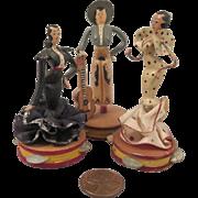 3 Vintage Mini Spanish Flamenco Dancers Wood Dolls