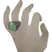 Arts and Crafts 800 Silver Nude Man Woman Chrysoprase Ring