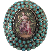 Georgian 900 Silver Turquoise Enamel Locket Brooch