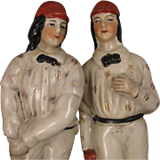 Pair Staffordshire Cricket Players Statue Figurines or Bookends