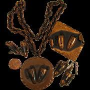 SALE Rebaje Copper Double Masks Parure Set, Pendant, Brooch, Earrings