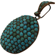 Antique Victorian 800 Silver Pave Turquoise Locket Pendant
