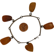 SALE Vintage Soviet Russia 875 Silver Amber Charm Bracelet