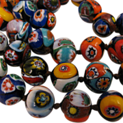 "22"" Vintage Italian Millefiori Beaded Glass Necklace"
