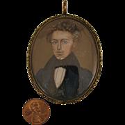 SALE Georgian 9K Portrait Miniature Gentleman Pendant Locket