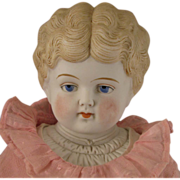 """SALE 19"""" Hertwig Blond Parian Bisque Doll w/ Decorated Shoulder Plate & Turned Head"""