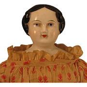 "13.5"" Antique German Flat Top China Head Doll"