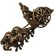 Early 1900s Roman Chariot 3D Brooch