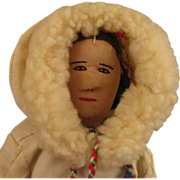 "SALE 12"" Vintage Cloth Eskimo Woman Doll"