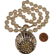 SALE c.1945 Nordic Sterling Rhinestone Pendant Brooch + Modern Cultured Pearl Swarovski Neckla