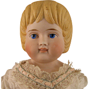 """SALE 19"""" c.1880s German Bisque Doll w/ Unusual Hair Style"""