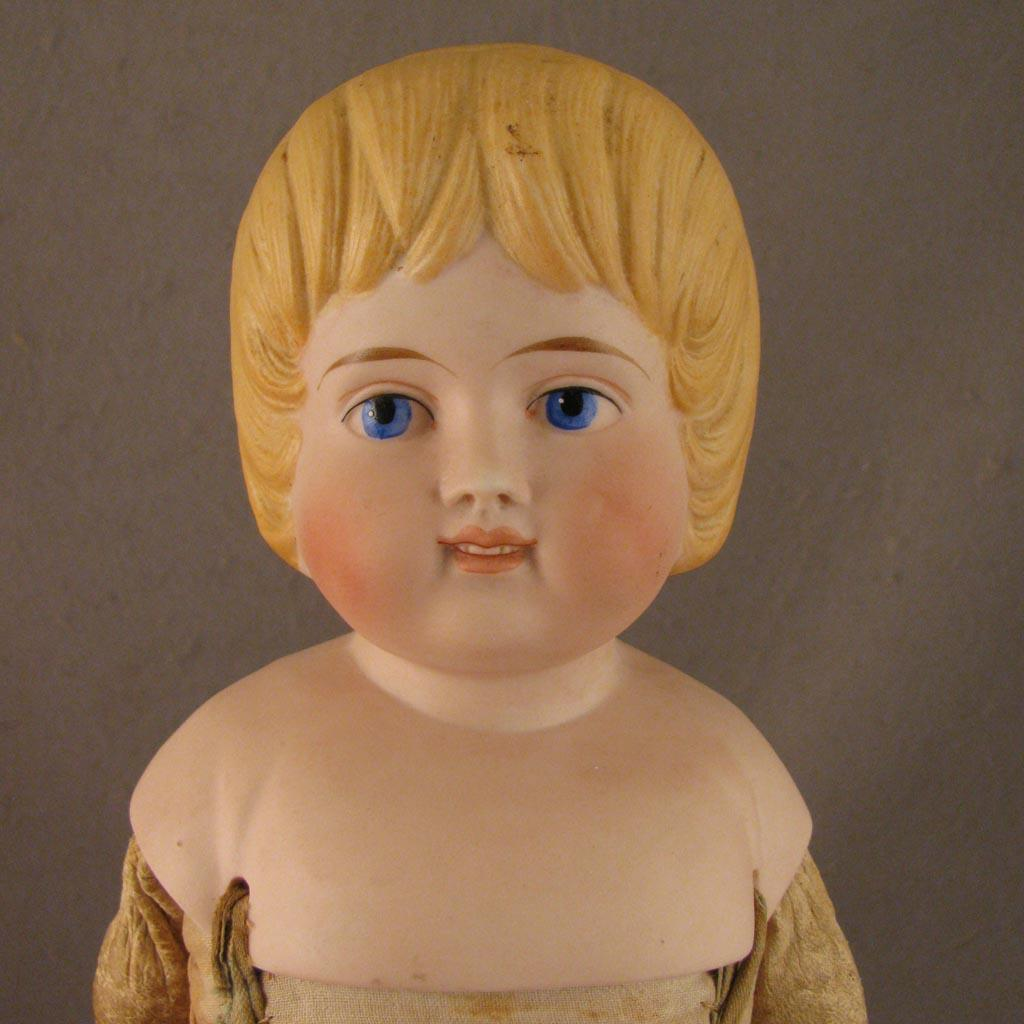 19 C1880s German Bisque Doll W Unusual Hair Style From