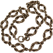 "Antique Victorian 15"" Sterling Silver Love Knot Choker Chain Necklace"