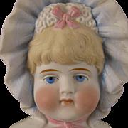 """SOLD 20"""" Antique German Parian Bisque Bonnet Head Doll"""