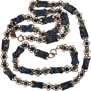 SALE Chinese Enamel Necklace and Bracelet Chain Vintage Set