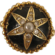 SALE Vintage 14K Diamond, Pearl & Enamel Ring Size 6
