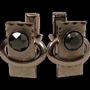 SALE Atomic Mid Century Modern Sterling Hematite Cufflinks