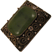SALE Early 1900s Chinese Export Nephrite Jade Brooch