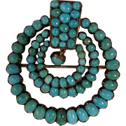 SALE PENDING Antique Victorian Turquoise 800 Silver Brooch