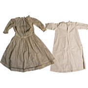 "c.1900 White Cotton Doll Dress + Nightgown for 28"" Doll"