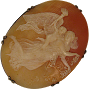 Antique Sterling Cameo Brooch of Angel Carrying Child after Thorvaldsen's Day
