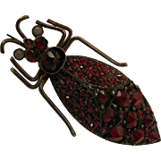 SALE Antique Victorian Rose Cut Garnet Insect Beetle Brooch 900 Silver