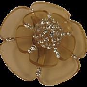 SALE Mid Century Mod Lucite & Rhinestone Tiered Flower Brooch