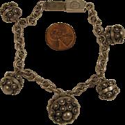 SALE Vintage Mexican Sterling Silver Etruscan Revival Charm Bracelet