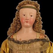 "SALE 18"" Early 1800s Italian Angel Creche Church Doll w/ Terra Cotta Head"