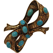SALE Antique Victorian 14K Turquoise Bow Brooch