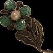 Vintage H. O. B. Flower Brooch w/ Cultured Pearl