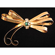 Big c.1940s Sterling Vermeil Bow Brooch w/ Rhinestones