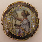 SALE Antique Victorian Painted Porcelain Brooch of Classical Greek Lady