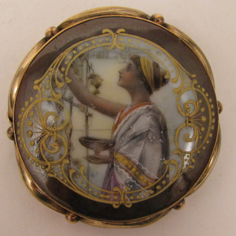 Antique Victorian Painted Porcelain Brooch of Classical Greek Lady