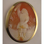 SALE MId 1800s Carved Shell Cameo of Child in Garden w/Bird in 14K Brooch