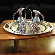 SALE Mid Century Modern 950 Sterling Silver Tea Set Coffee Set+ Tray