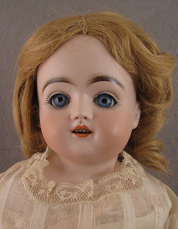"""18"""" German Kestner Sleep Eye Bisque Doll on Kid Body"""