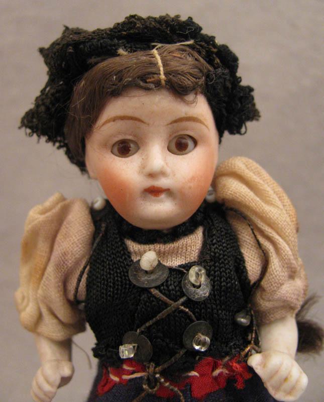 "4"" All Original All Bisque Doll in Swiss Regional Costume"