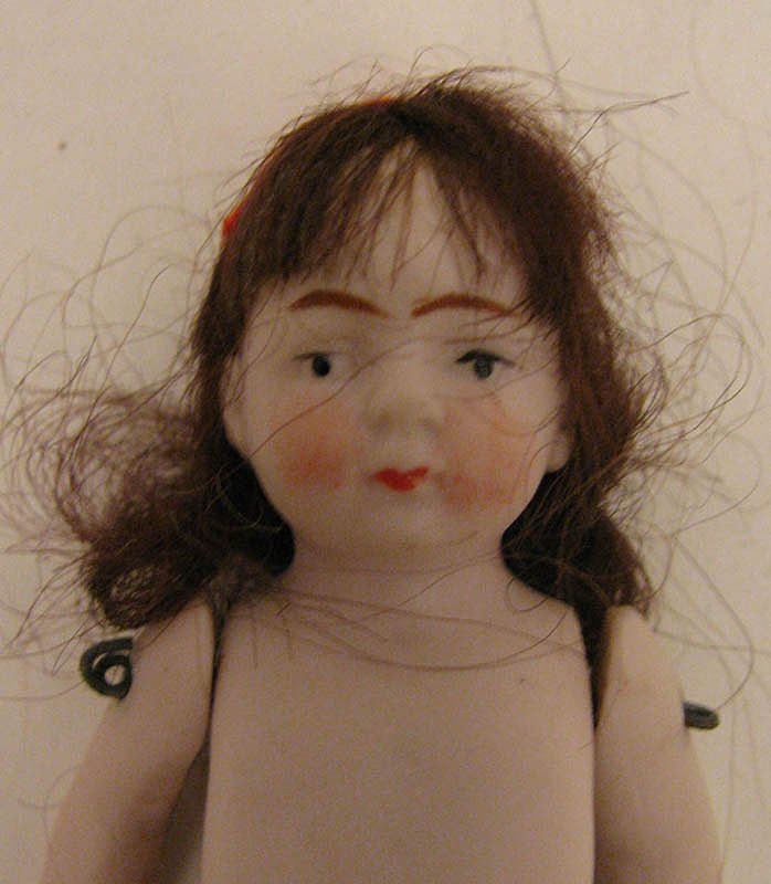"""Naked 3.125"""" German All Bisque Brown Haired Girl Doll"""