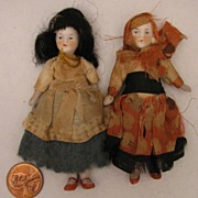 "Pair of 3.5"" German Jointed All Bisque Doll in Regional Costumes"