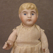 "SALE 4"" Blond Bent Limb All Bisque Kling Doll c. 1890"