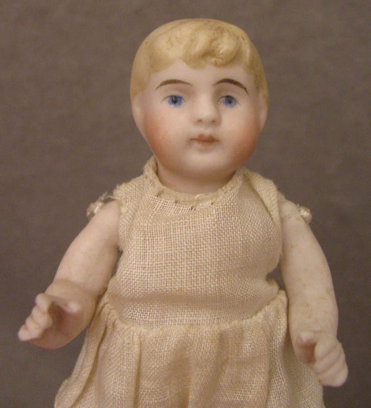 """4"""" Blond Bent Limb All Bisque Kling Doll c. 1890"""