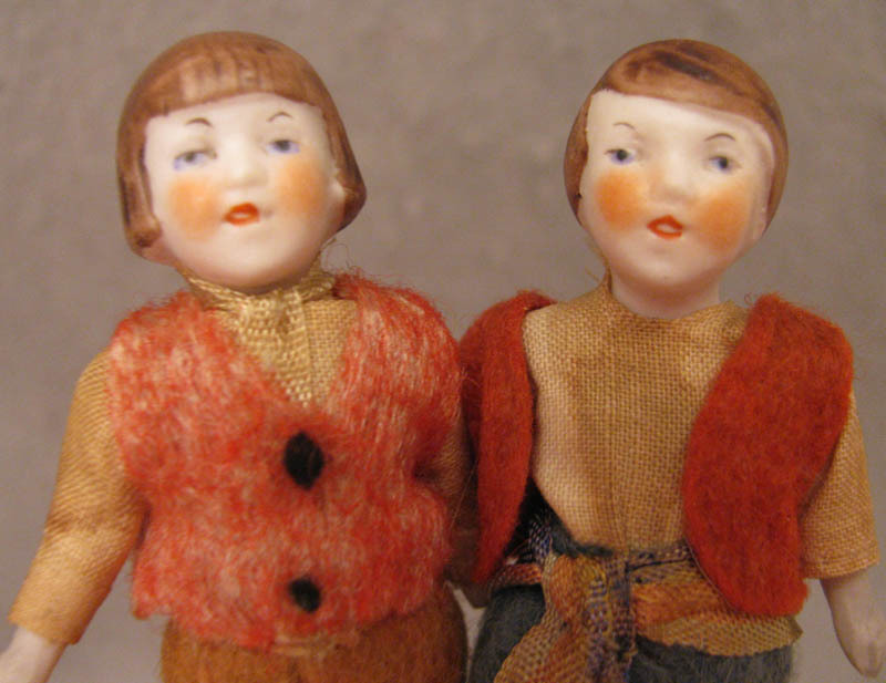 "All Original 3.25"" Doll House 1920s-40s Pair All Bisque Dolls"
