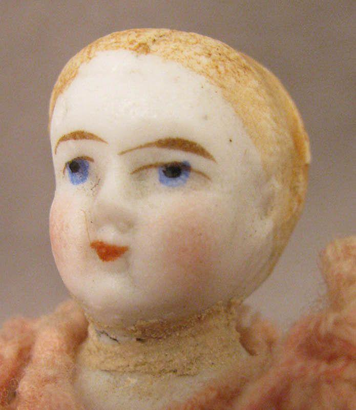 "c.1875 Blond 4"" All Bisque Doll w/ Alice Hair Style"