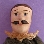 "SALE 3.75"" Jointed Wooden Male Doll w/ Mustache & Original Clothing"