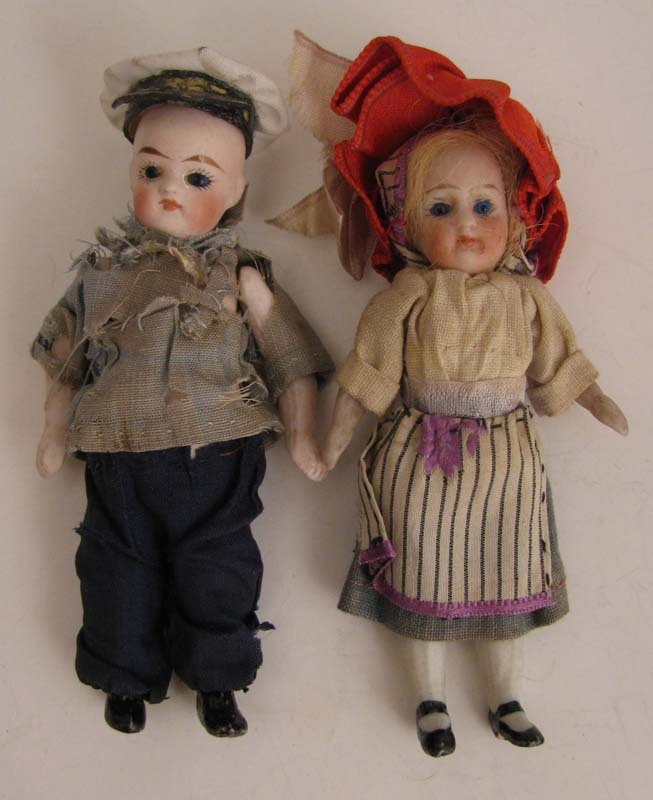 "3.25"" Pair German All Bisque Dolls w/ Glass Eyes & Original Clothes"