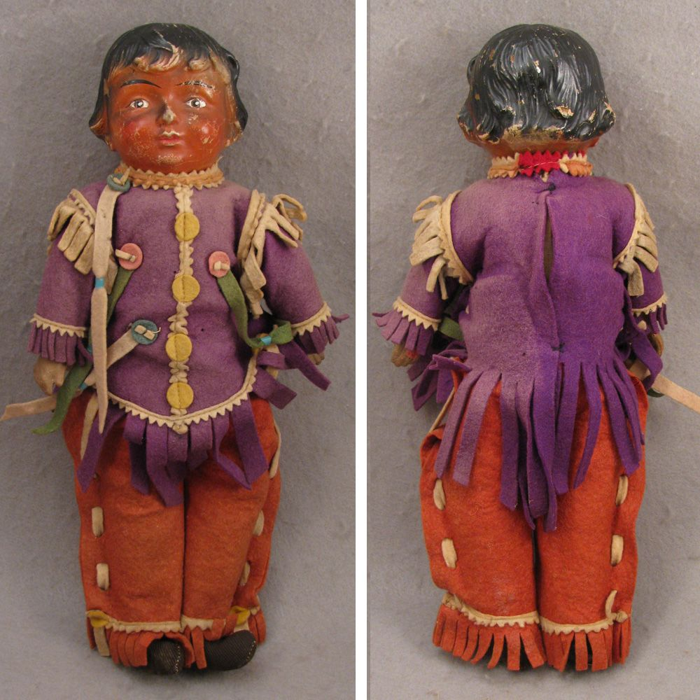 """19-teens 14"""" Composition Doll as American Indian, All Original"""
