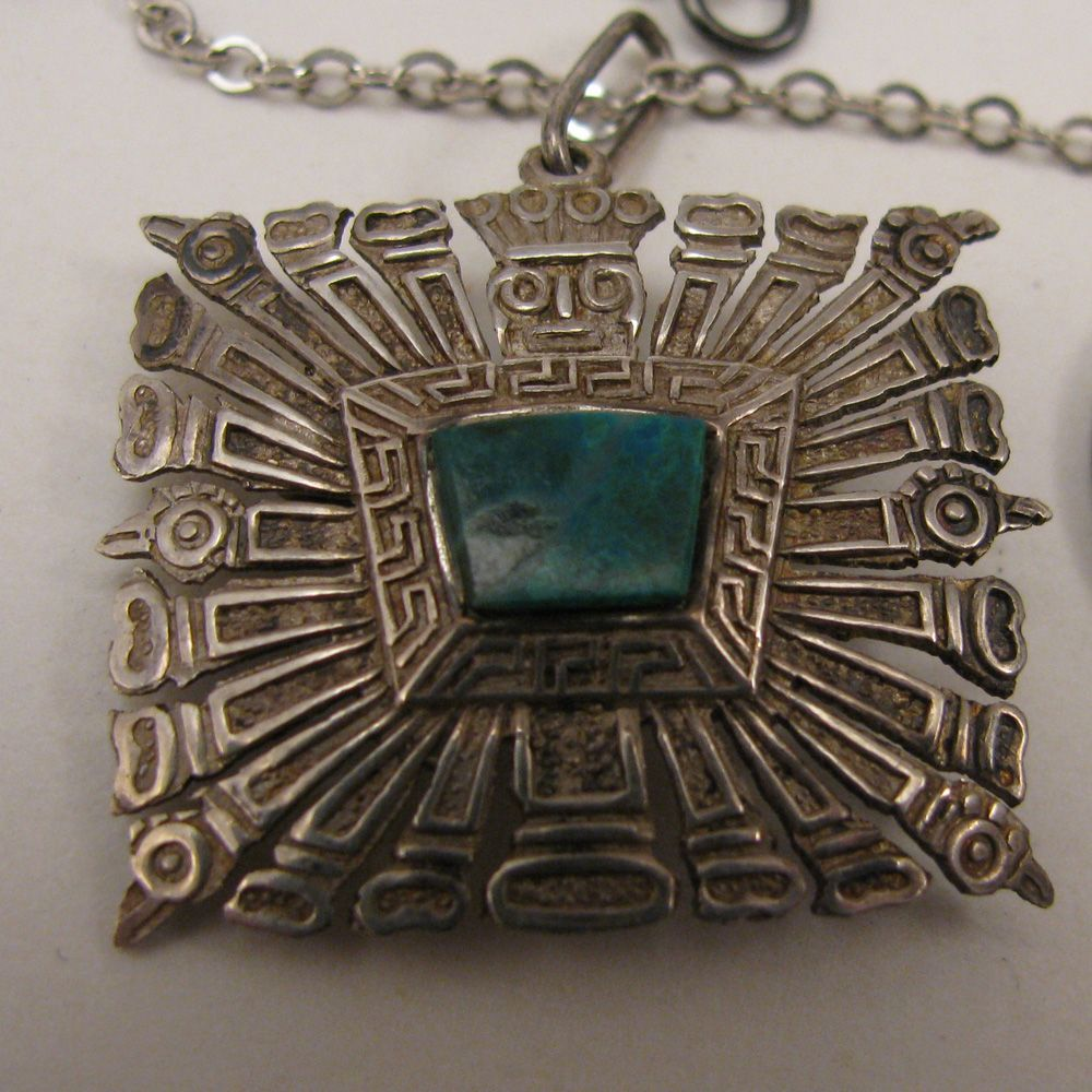 Aztec Mayan God Sterling Chrysoprase Pendant Necklace