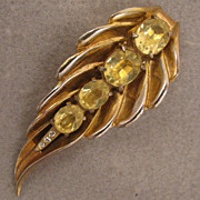 SALE Vintage Gold Tone Topaz Yellow Rhinestone Leaf Fur Clip Brooch